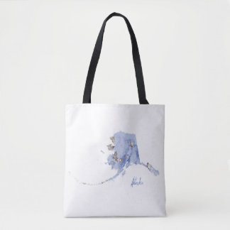 Blue & Gold Alaska State Map Tote Bag