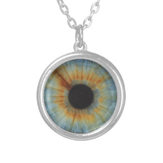 Blue, Gold, And Brown Eye Necklace