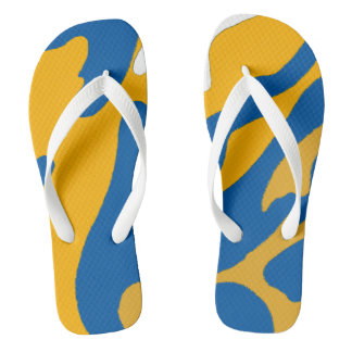 Blue Gold and White Camo Flip Flops