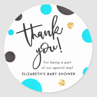 Blue & Gold Baby Shower Thank You Stickers - Boy