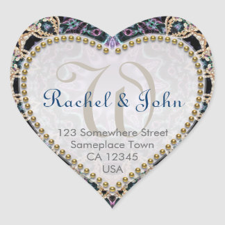 Blue Gold Batik Love Monogram Wedding Stickers