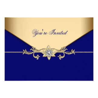 Blue Gold Blue Corporate Party Event Template Custom Announcements