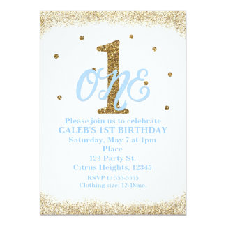 Blue & Gold Boys ONE 1st Birthday Party Card
