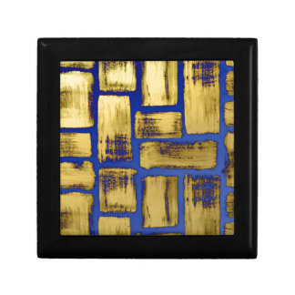 Blue Gold Brushstroke Watercolor Pattern Small Square Gift Box