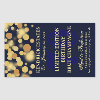 Blue Gold Champagne Bubbles Birthday Label 750ml Rectangular Sticker