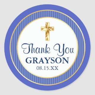 Blue & Gold Christening, Baptism, First Communion Classic Round Sticker