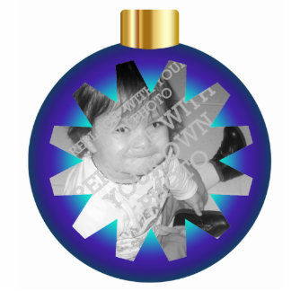 Blue & Gold Christmas Ball Photo Ornament Frame Photo Sculpture Decoration