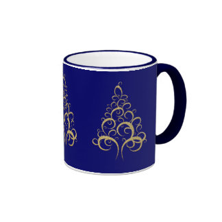 Blue gold Christmas tree Mugs