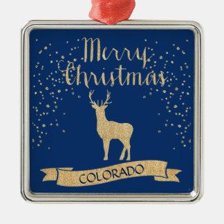 Blue Gold Colorado Elk Faux Glitter Metal Ornament