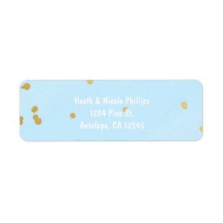Blue & Gold Confetti Dots Modern Address label