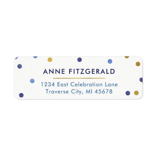Blue & Gold Confetti Return Address Labels