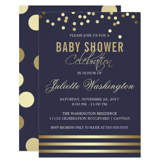 Blue Gold Confetti Stripe | Baby Shower Card