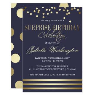 Blue Gold Confetti Stripe Surprise Birthday Party Card