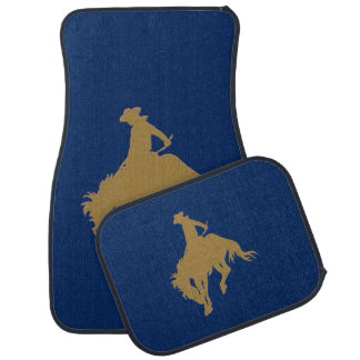 Blue Gold Cowboy Bucking Horse Car Mat
