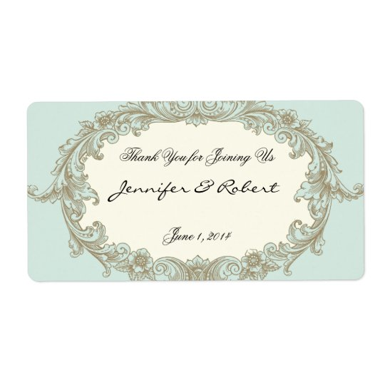 Blue Gold Cream Vintage Frame Water Bottle Label