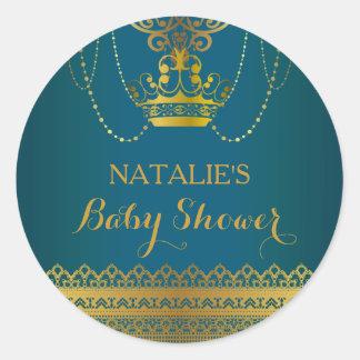 Blue & Gold Crown Baby Shower Sticker