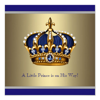 Blue Gold Crown Little Prince Boy Baby Shower 13 Cm X 13 Cm Square Invitation Card