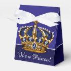 Blue Gold Crown Little Prince Boy Baby Shower Favour Box