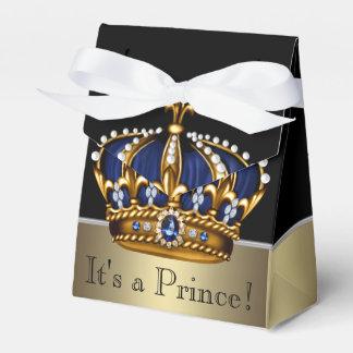 Blue Gold Crown Little Prince Boy Baby Shower Wedding Favour Box