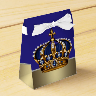 Blue Gold Crown Little Prince Boy Baby Shower Favor Boxes