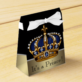Blue Gold Crown Little Prince Boy Baby Shower Wedding Favour Box