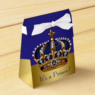 Blue Gold Crown Prince Baby Shower Party Favour Boxes