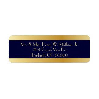 Blue & Gold Custom Return Address Labels