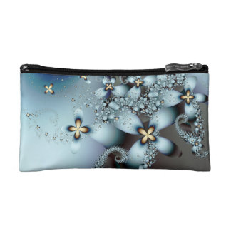 Blue Gold Cute Abstract Floral Cosmetic Bags