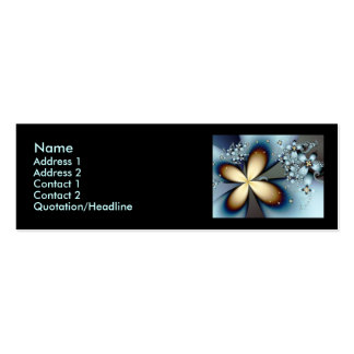 Blue Gold Cute Abstract Floral Pack Of Skinny Business Cards