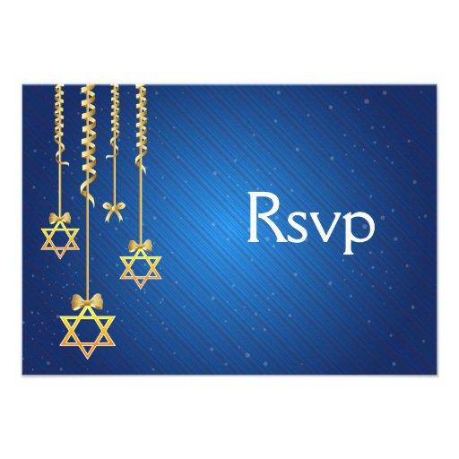 Blue/Gold Dangling Star of David Hanukkah Personalized Invitation