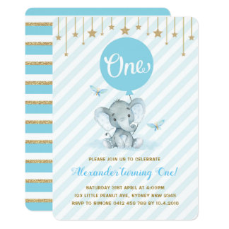 Blue Gold Elephant 1st First Birthday Twinkle Star Card
