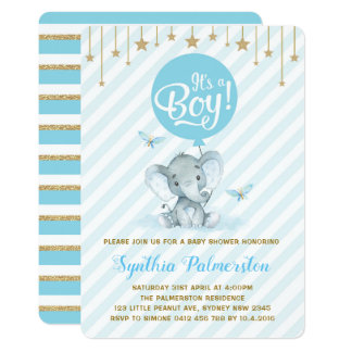 Blue Gold Elephant Baby Shower Twinkle Star Invite
