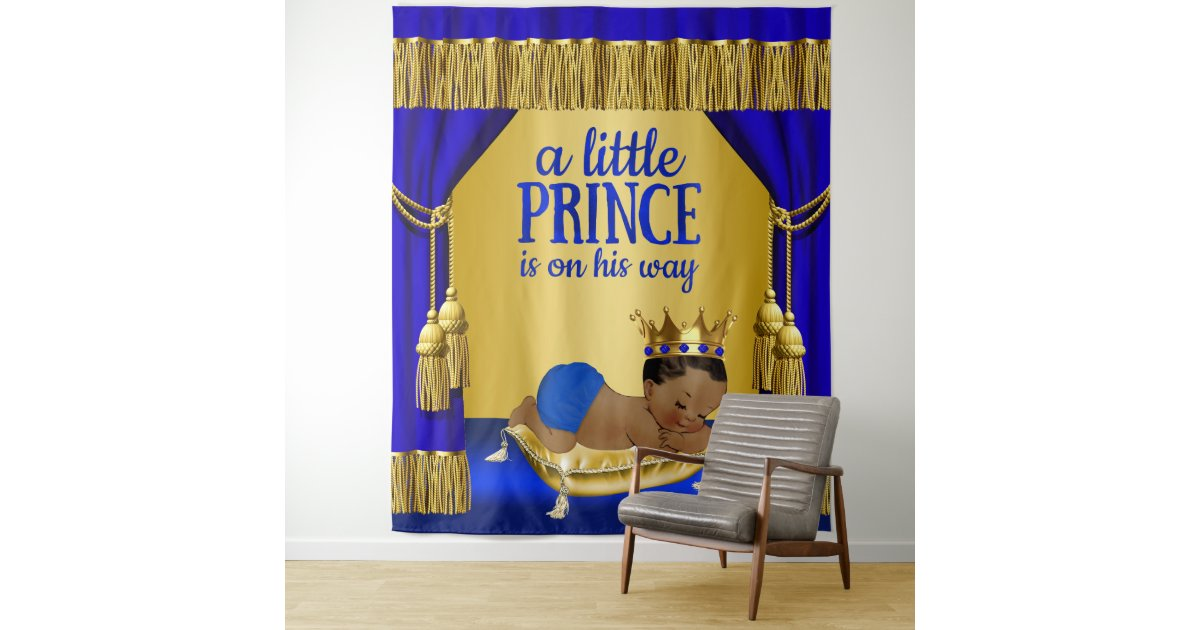 Blue Gold Ethnic Prince Baby Shower Backdrop Tapestry