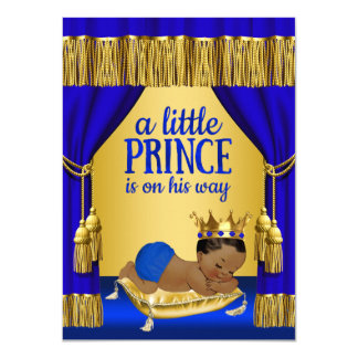 Blue Gold Ethnic Prince Baby Shower Invitations