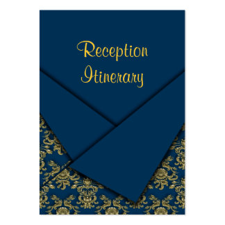 Blue & Gold Fancy Folded Baroque Wedding Business Card Templates