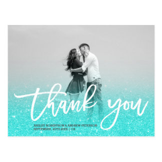 Blue gold faux glitter turquoise photo thank you postcard