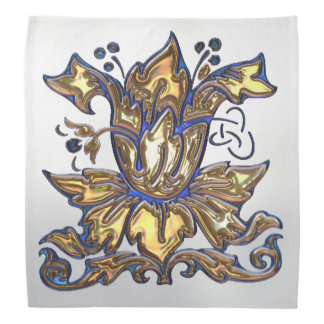 Blue & Gold Floral Jeweled Deco Head Kerchief
