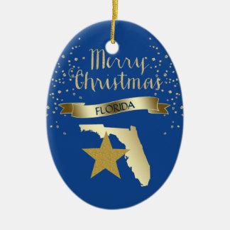 Blue Gold Florida Star Ceramic Ornament