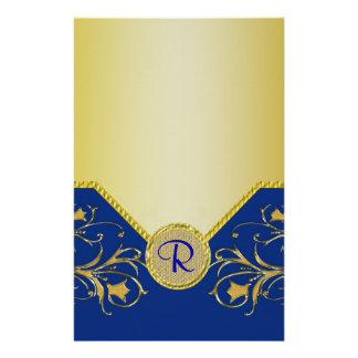 Blue & Gold Flowering Vines Monogram Wedding Stationery Design
