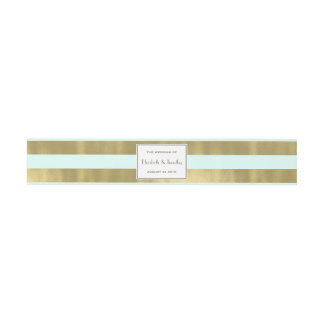 Blue Gold Foil Stripes Belly Band Invitation Belly Band