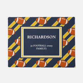 Blue Gold Football  Pattern Doormat