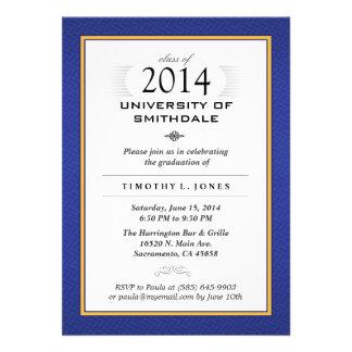 Blue & Gold Formal Graduation Party Invite