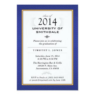 "Blue & Gold Formal Graduation Party Invite 5"" X 7"" Invitation Card"