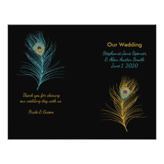Blue Gold Glitter Peacock Feather Wedding Programs Flyer