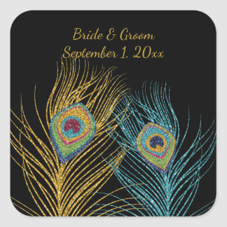 Blue Gold Glitter Peacock Feather Wedding Stickers