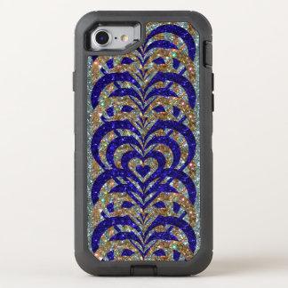 Blue & Gold Glitter Spiral Vortex Hearts, Silver - OtterBox Defender iPhone 8/7 Case