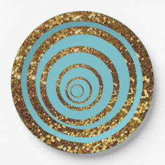 Blue & Gold Glitter Swirl and Polka Dot Plates 9 Inch Paper Plate