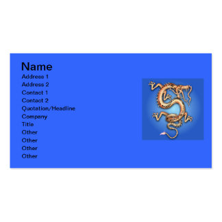 BLUE GOLD GOLDEN DRAGON FANTASY CHARACTER CREATURE BUSINESS CARD TEMPLATE