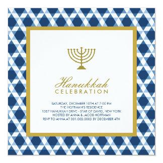 Blue Gold Hanukkah Star Of David Menorah Party 13 Cm X 13 Cm Square Invitation Card