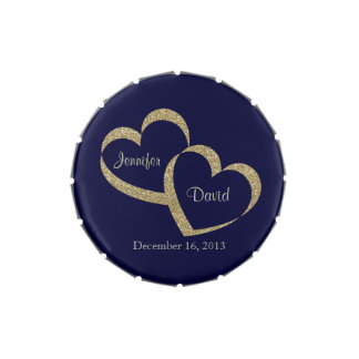 Blue & Gold Hearts Custom Wedding Candy Tin